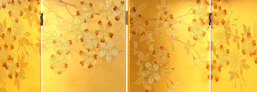 隆和堂の金彩屏風